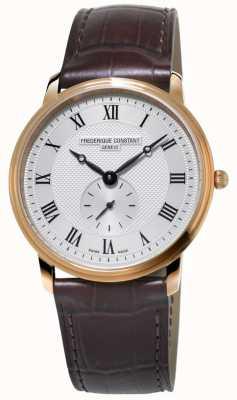 Frederique Constant Slimline masculino | pulseira de couro marrom | mostrador prateado FC-235M4S4
