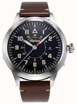 Alpina Herança do piloto Smartimer ltd | pulseira de couro marrom | mostrador azul AL-525BBG4SH6