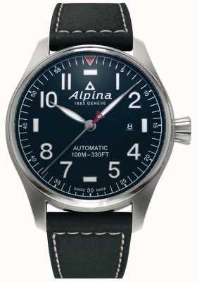 Alpina Smartimer piloto automático masculino | pulseira de couro preta | mostrador azul escuro AL-525NN4S6