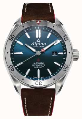 Alpina Alpiner 4 masculino automático | pulseira de couro marrom | mostrador azul AL-525NS5AQ6