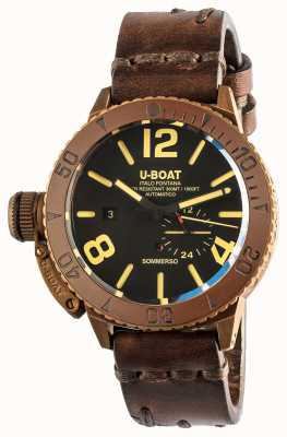 U-Boat Sommerso 46 bronze pulseira automática de couro marrom 8486/C