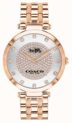 Coach Parque das mulheres | pulseira de aço banhado a ouro rosa | mostrador branco 14503735
