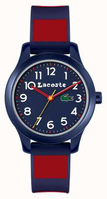 Lacoste Crianças 12:12 | pulseira de silicone azul e vermelha | mostrador azul 2030035