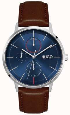 HUGO #exist | pulseira de couro marrom dos homens | mostrador azul 1530201