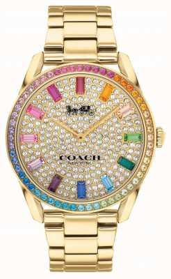 Coach Preston feminino | pulseira de aço banhado a ouro | mostrador de cristal 14503657