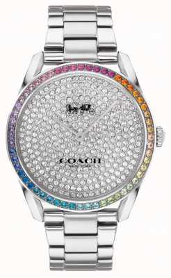 Coach Preston feminino | pulseira de prata de aço inoxidável | mostrador de cristal 14503658