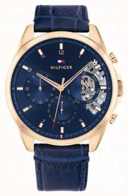 Tommy Hilfiger Baker | pulseira de couro azul | mostrador azul 1710451