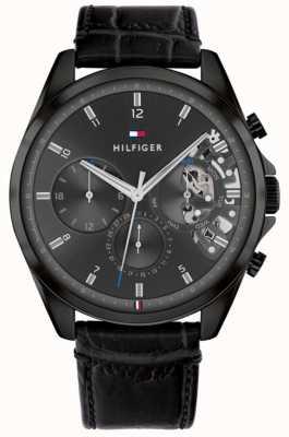 Tommy Hilfiger Baker | pulseira de couro preta para homens | mostrador preto 1710452