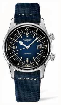 Longines Bracelete de couro azul do mergulhador da lenda da herança L37744902