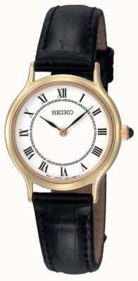 Seiko Relógio feminino de couro preto com pulseira de couro preto SFQ830P1