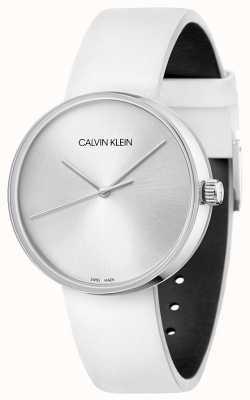 Calvin Klein Pulseira de couro branco feminino | mostrador prateado KBL231L6