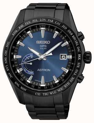 Seiko Mostrador Astron GPS banhado a ip preto em aço inoxidável azul SSE111J1