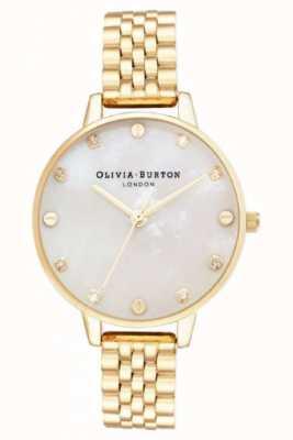 Olivia Burton Grande mostrador branco mop ouro pulseira caixa fina OB16SE13