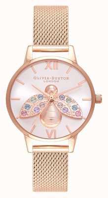 Olivia Burton Abelha arco-íris prata raio de sol rosa malha de ouro OB16RB28