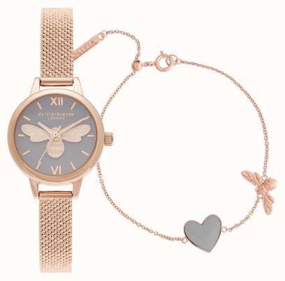 Olivia Burton Você tem meu relógio de ouro rosa coração e conjunto de bracelete OBGSET148