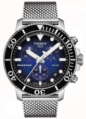 Tissot Seastar 1000 | cronógrafo | mostrador azul | malha de aço inoxidável T1204171104102