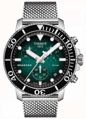 Tissot Seastar 1000 | cronógrafo | mostrador verde | malha de aço inoxidável T1204171109100
