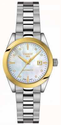 Tissot T-minha senhora   Ouro 18k   auto   esfregão dial   pulseira de inox T9300074111600