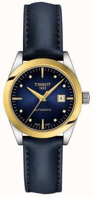 Tissot T-minha senhora   Ouro 18k   auto   mostrador azul   pulseira de couro azul T9300074604600