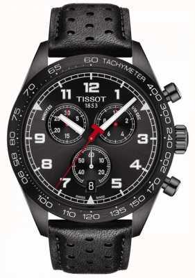 Tissot Prs 516 | cronógrafo | mostrador preto | pulseira de couro preta T1316173605200