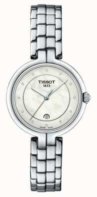 Tissot Flamingo | madrepérola dial | pulseira de aço inoxidável T0942101111601