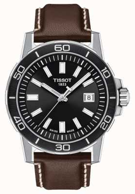 Tissot Supersport | mostrador preto | pulseira de couro marrom T1256101605100