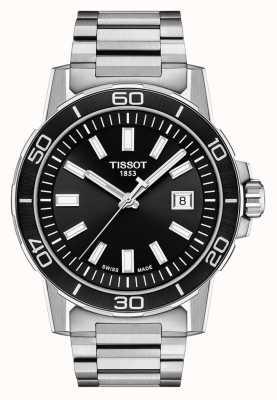 Tissot Supersport | mostrador preto | pulseira de aço inoxidável T1256101105100