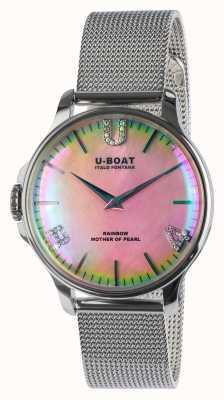 U-Boat Pulseira de malha ss rosa arco-íris 38 8472/MT