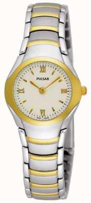 Pulsar Relógio de pulseira de aço inoxidável de dois tons para mulheres PEG406X1