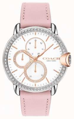 Coach Arden feminino | pulseira de couro rosa | mostrador branco 14503747