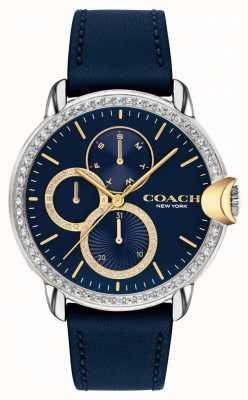 Coach Arden feminino | pulseira de couro azul | mostrador azul 14503734
