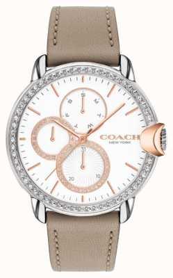 Coach Arden feminino | pulseira de couro de bezerro de pedra | mostrador de cristal branco 14503733