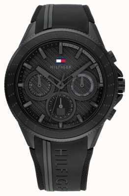 Tommy Hilfiger Alden masculino | pulseira de silicone preta | mostrador preto 1791861