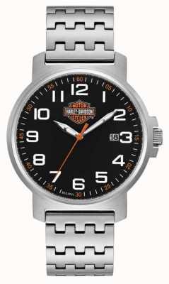 Harley Davidson Pulseira masculina de aço inoxidável   mostrador preto de fácil leitura 76B187