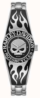Harley Davidson Flamejante willie g crânio dial feminino | pulseira de aço inoxidável 76L190