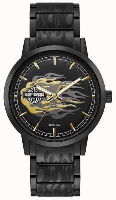Harley Davidson Chamas masculinas   pulseira de aço preto   mostrador preto 78A121