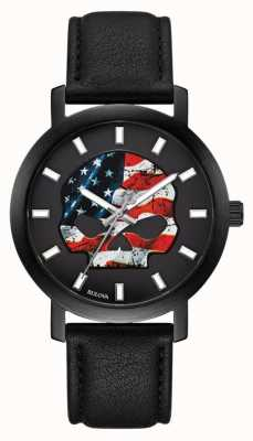 Harley Davidson Bandeira americana masculina willie g | pulseira de couro preta 78A122