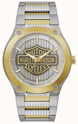Harley Davidson Pulseira masculina de aço em dois tons   mostrador prateado 78A125