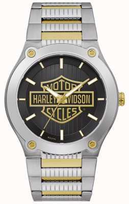 Harley Davidson Pulseira masculina de aço em dois tons   mostrador preto 78A126