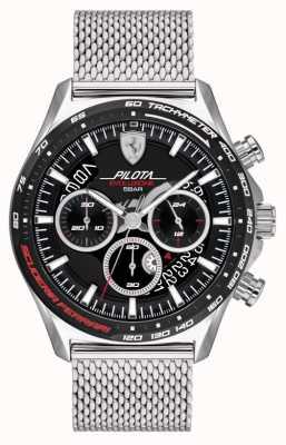 Scuderia Ferrari Pilota evo masculino | pulseira em malha de aço prateado | mostrador preto 0830826