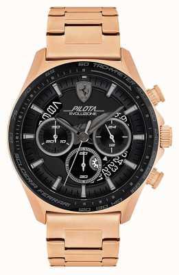 Scuderia Ferrari Pilota evo masculino | pulseira de aço banhado a ouro rosa | mostrador preto 0830825