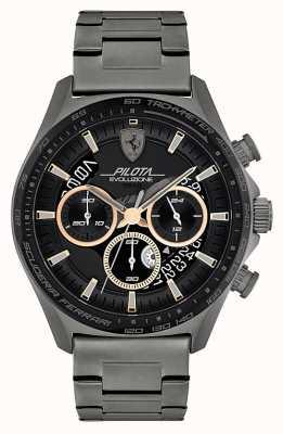 Scuderia Ferrari Pilota evo masculino | pulseira em aço ip cinza | mostrador preto 0830824