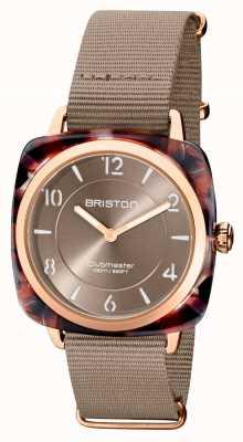 Briston Clubman chic | mostrador em ouro rosa 36 mm taupe | pulseira de nato cinza 21536.PRA.UBR.30.NT