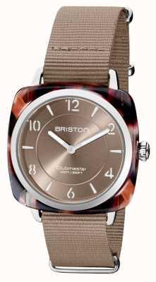 Briston Clubman chic | mostrador prata 36mm taupe | pulseira de nato cinza 21536.SA.UBR.30.NT