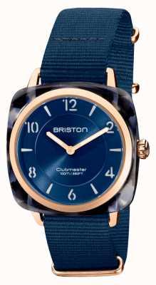 Briston Clubman chic | mostrador azul marinho 36 mm em ouro rosa | pulseira de nato azul marinho 21536.PRA.UB.33.NMB