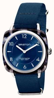 Briston Clubman chic | mostrador prata 36mm azul marinho | pulseira de nato azul marinho 21536.SA.UB.33.NMB
