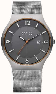 Bering Solar | homens | pulseira de malha de aço cinza 14440-073-A