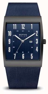 Bering Solar | homens | escovado preto | pulseira de malha azul 16433-327
