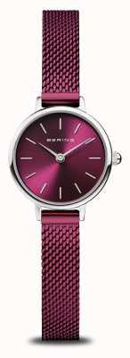 Bering Classic | mulheres | prata polida | malha roxa 11022-909