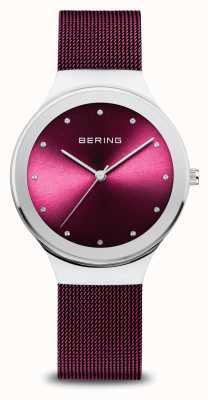 Bering Classic | mulheres | prata polida | malha roxa 12934-909